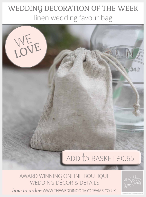 Linen wedding favour bags available from @theweddingomd