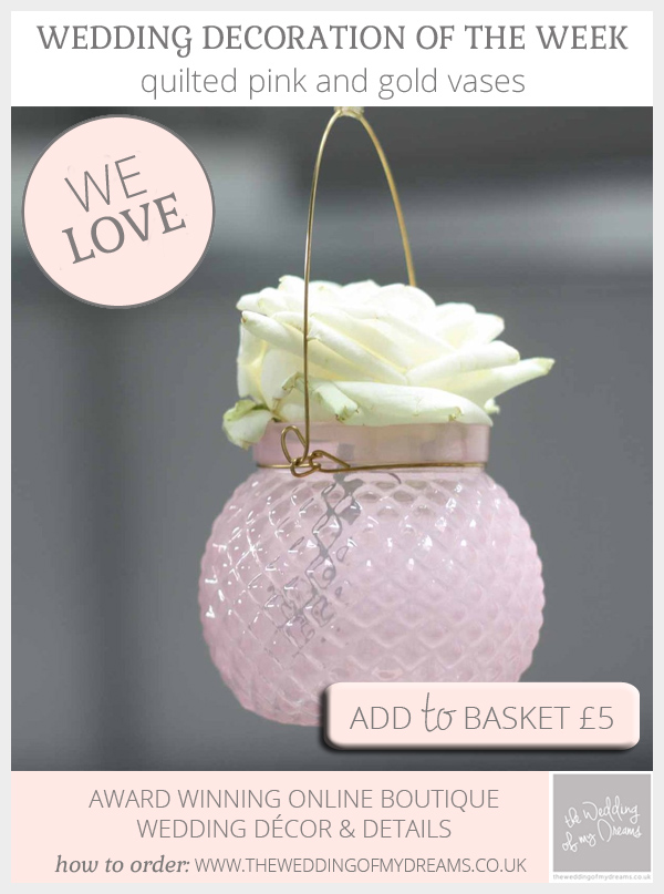Quilted pink and gold vases hanging available from @theweddingomd