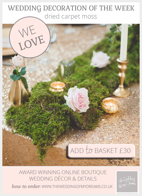 Box of dried carpet moss for weddings available from @theweddingomd