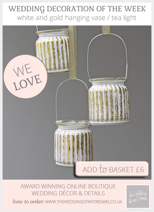 Elegant white and gold hanging vases tea lights available from @theweddingomd