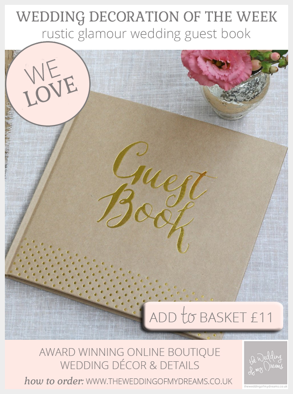 Rustic Glamour Wedding Guest Book - Brown Kraft Paper With Gold Foil available from @theweddingomd