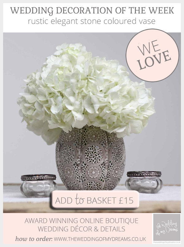 Rustic elegant wedding centrepiece - stone vase available from @theweddingomd