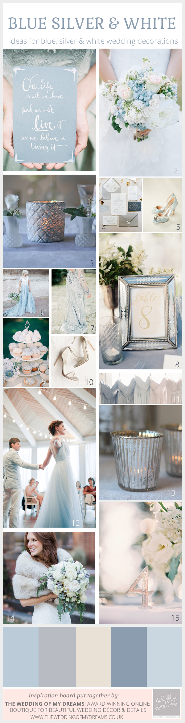 Enchanting Winter Wedding Colour Scheme: Blue, Silver and White