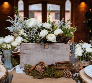 wooden box centrepiece winter woodland wedding decorations available from @theweddingomd