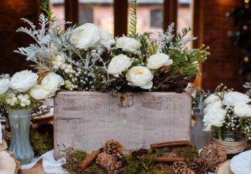 wooden box centrepiece winter woodland wedding decorations available from @theweddingomd