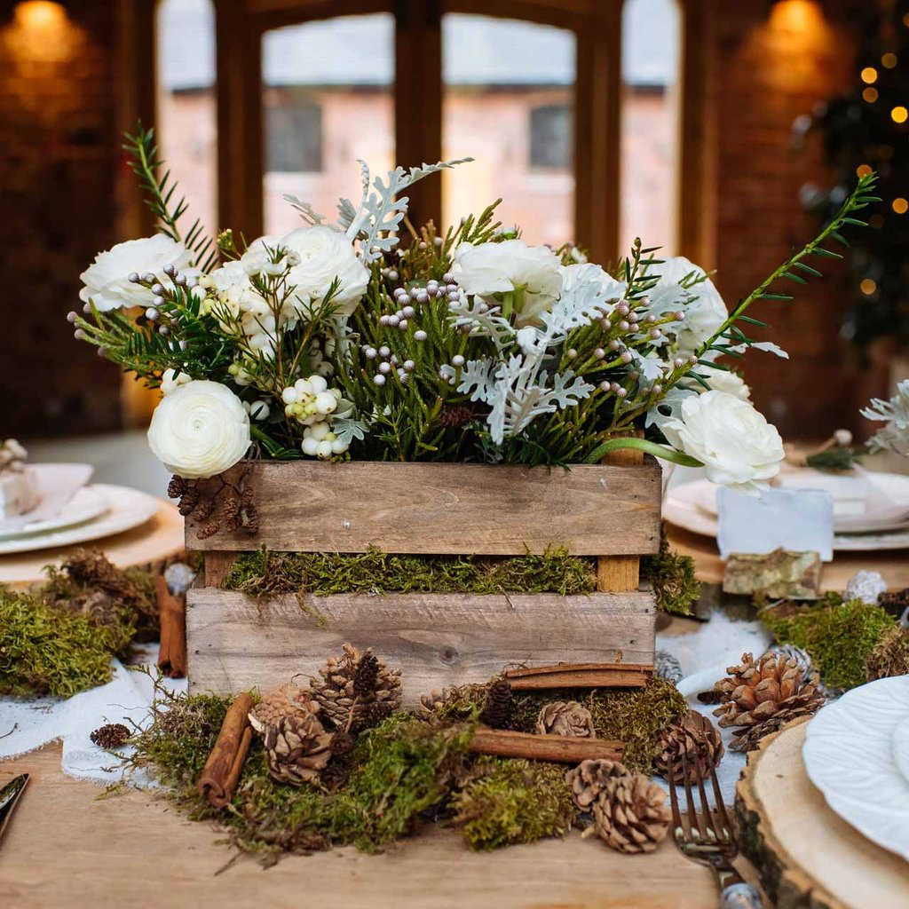 Crate wedding centrtepiece winter wedding ideas