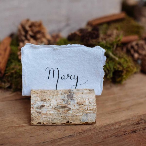 wooden bark name card holder winter woodland wedding decorations available from @theweddingomd