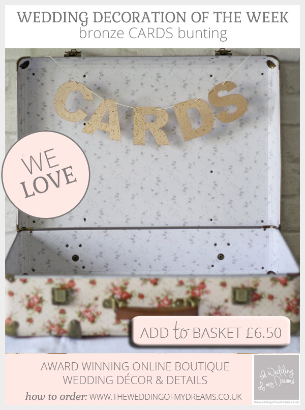 Bronze cards bunting available from @theweddingomd