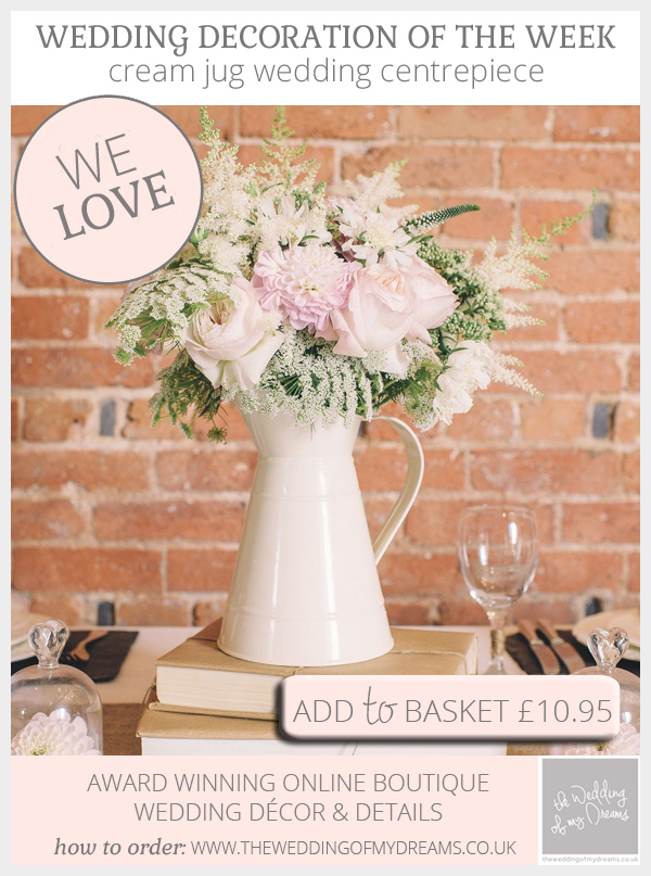 Cream jug wedding centrepiece available from @theweddingomd