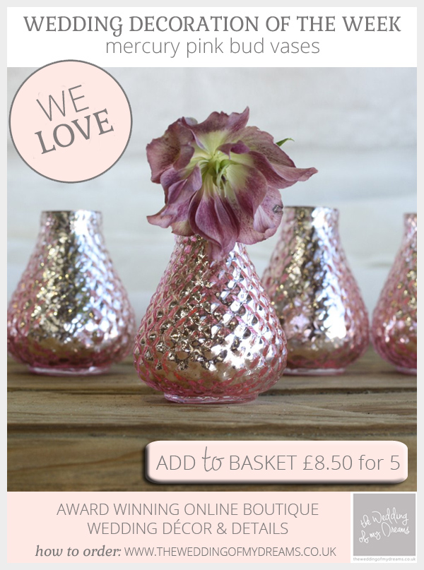 Mercury pink bud vases available from @theweddingomd