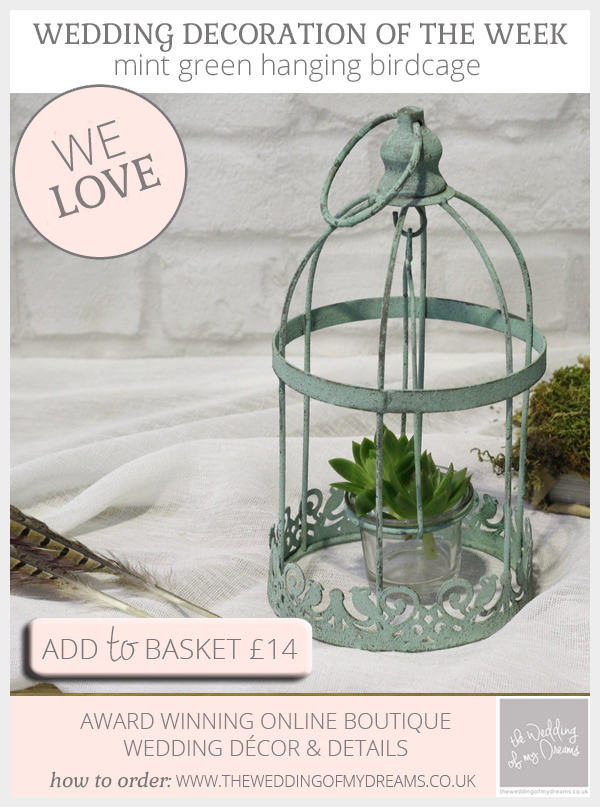Mint green hanging birdcage available from @theweddingomd
