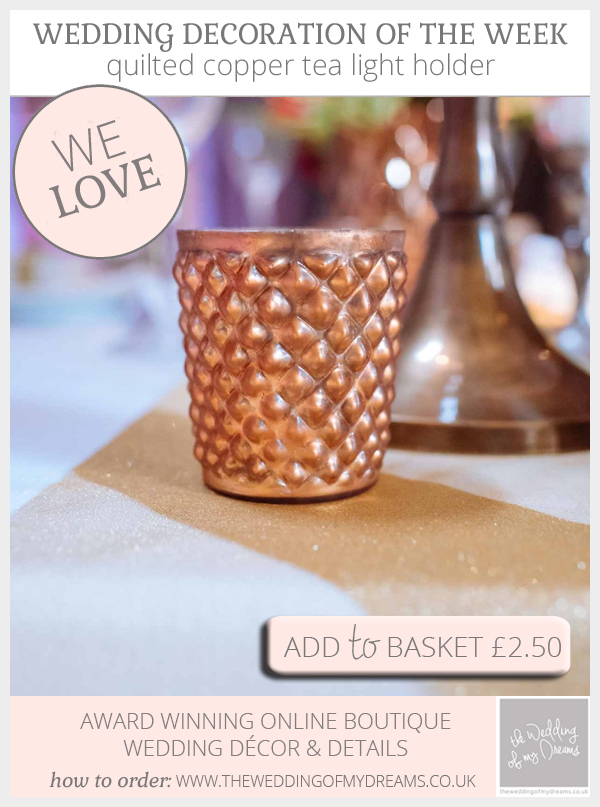 Quilted copper tea light holders available from @theweddingomd