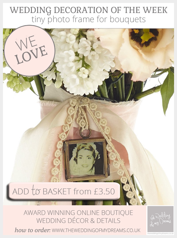 Tiny photo frames for wedding bouquets available from @theweddingomd