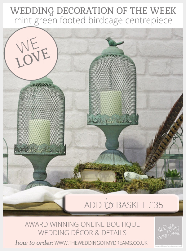 mint green footed birdcage centrepieces available from @theweddingomd