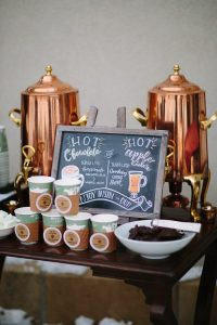 winter wedding drinks station hot chocolate
