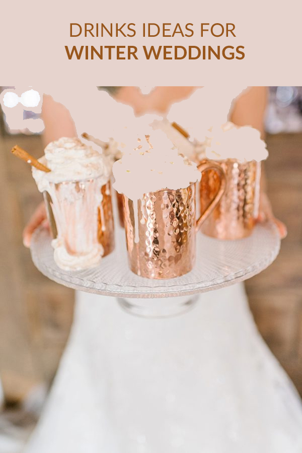 winter wedding drinks station hot chocolate marshmallows