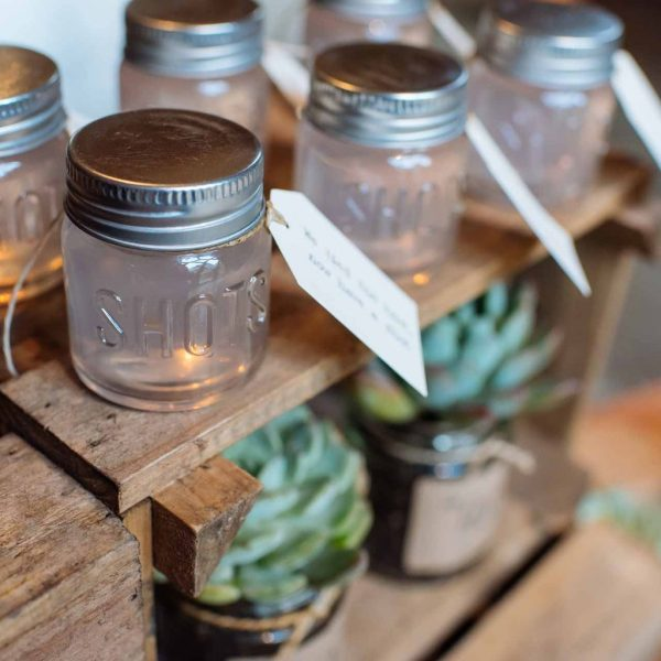 winter wedding favors shots of sloe gin shot glasses available from the wedding of my dreams