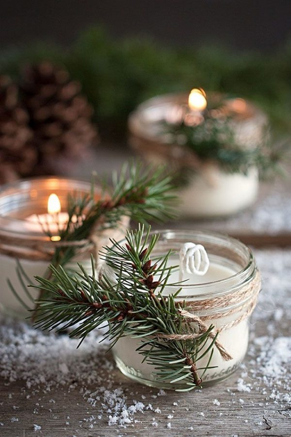 winter wedding favours decorate jam jars with pine cones and fir trees