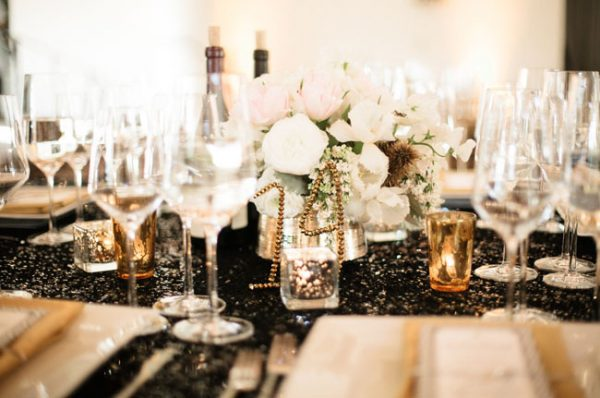 black sequin tablecloths wedding