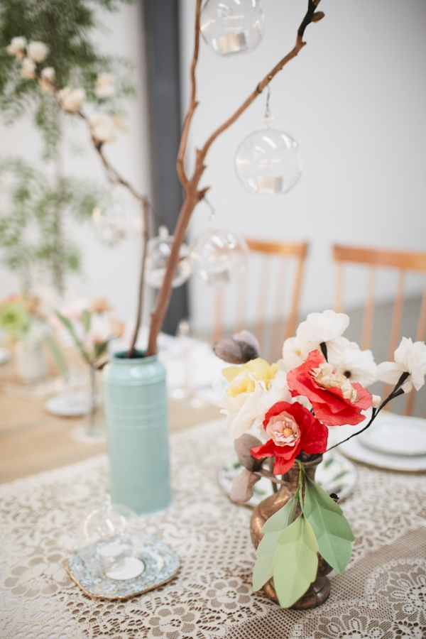 hanging candle holders branches winter wedding centrepieces