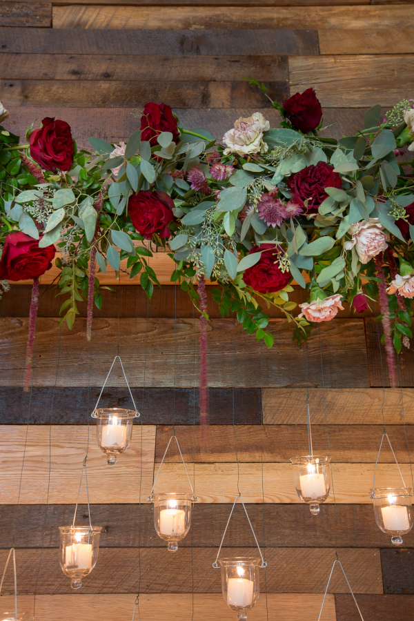 hanging candle holders winter weddings
