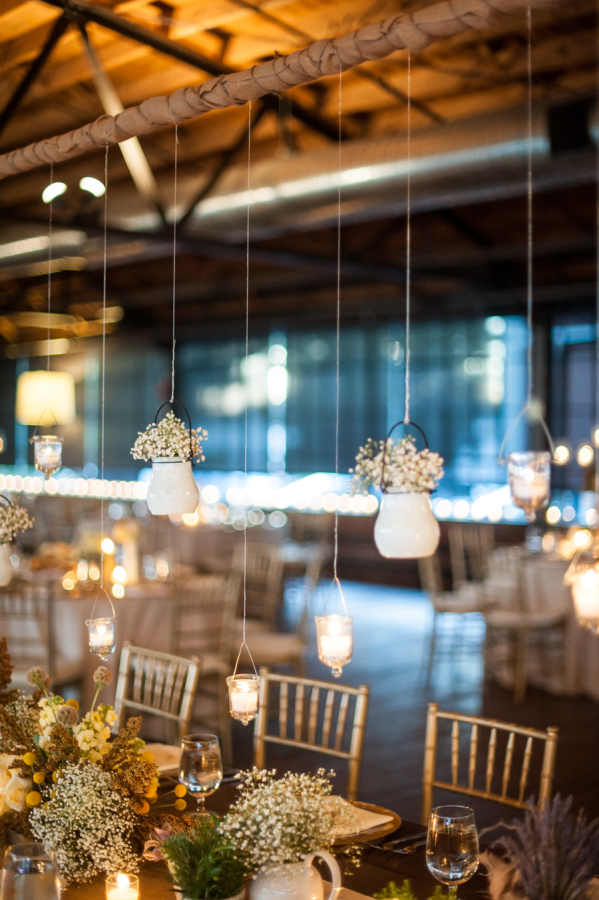 hanging vases winter wedding table ideas
