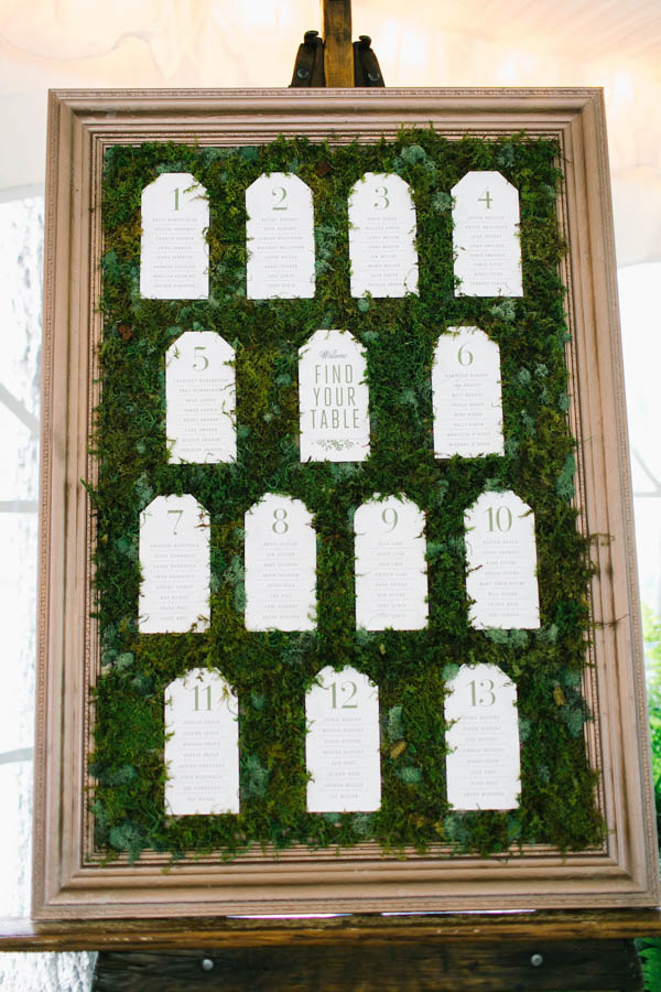 moss covered wedding table plan