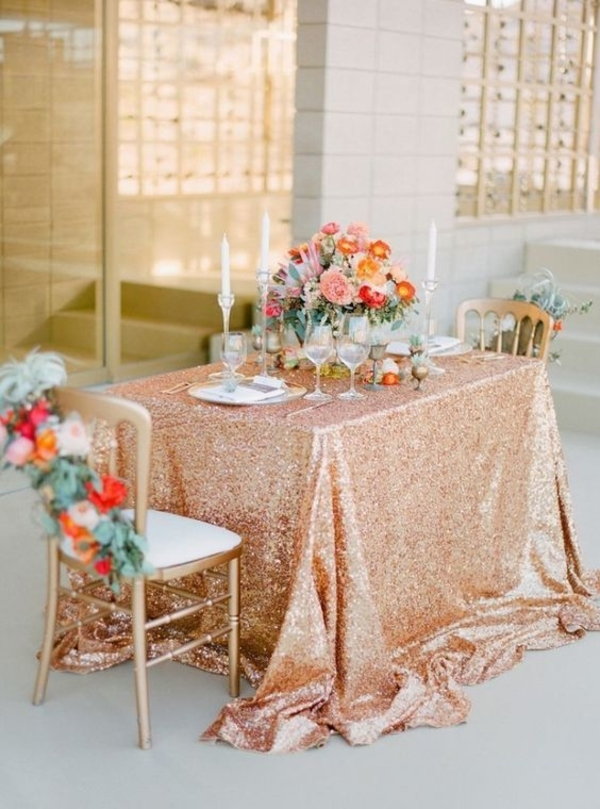 rose gold sequin table cloths wedding