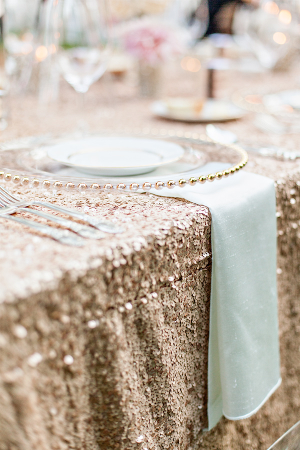 sequin table cloths rose god