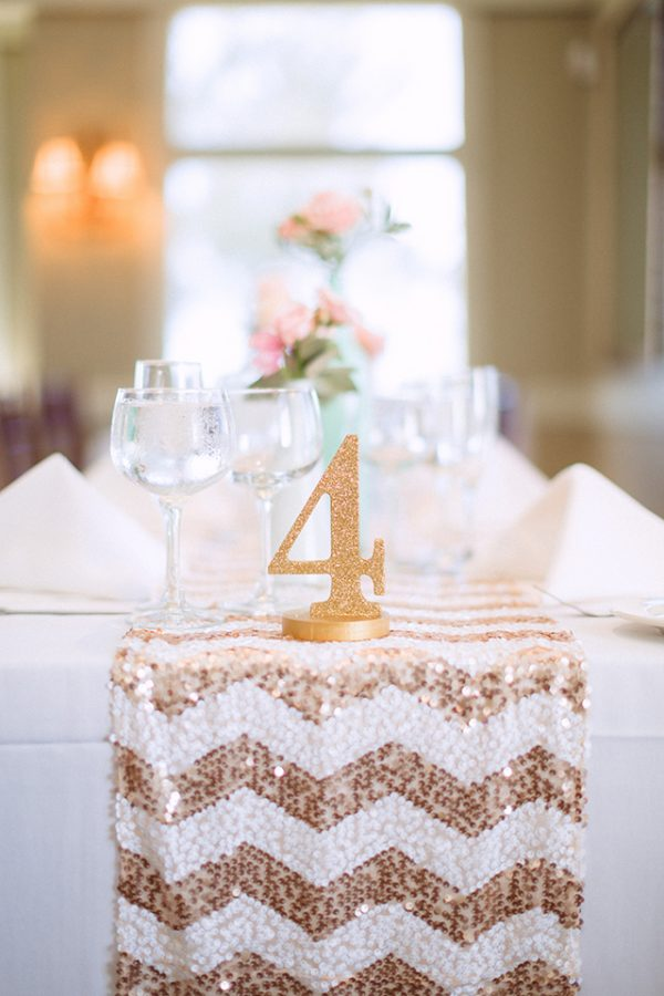sequin table runners chevron white and rose gold