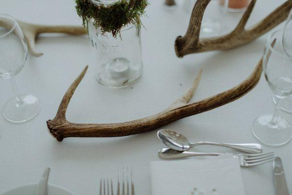 stag horns wedding centrepieces