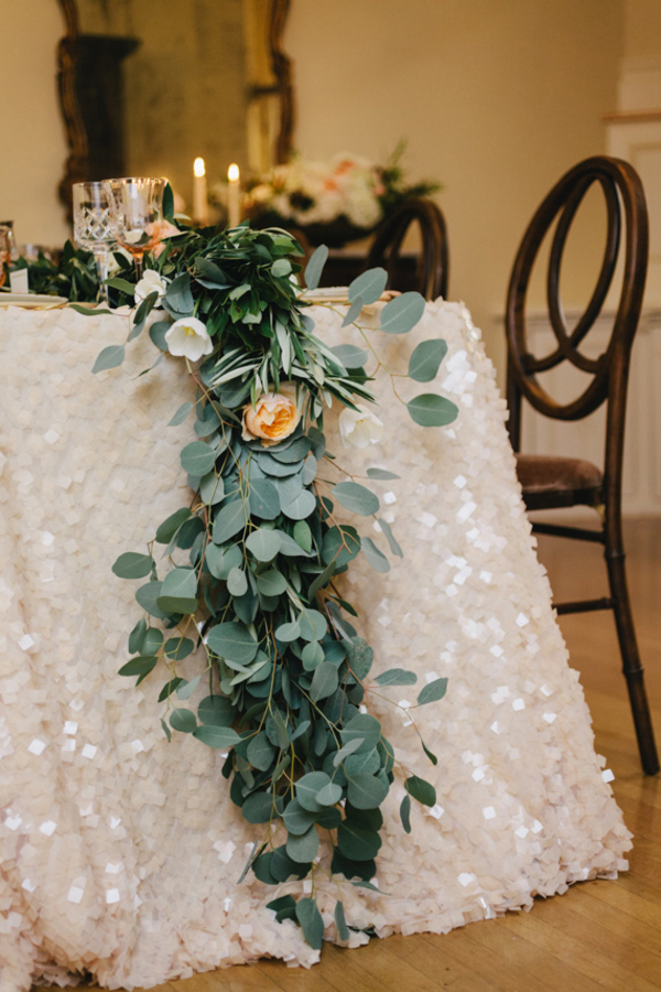 white sequin table cloths wedding