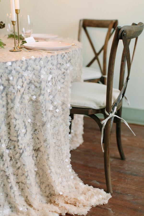 white wedding table cloths sequins