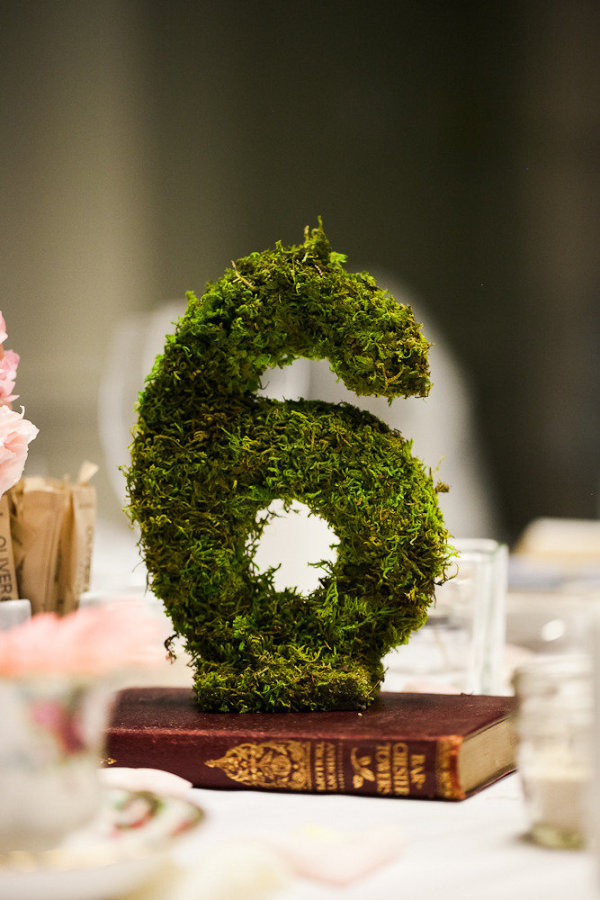 woodland moss covered wedding table numbers