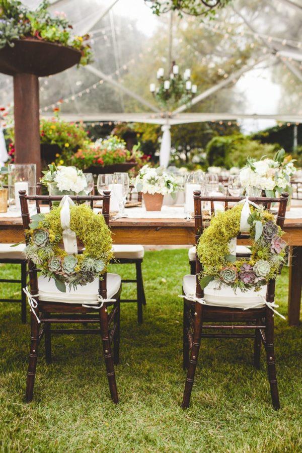 woodland rustic wedding chair backs moss initials