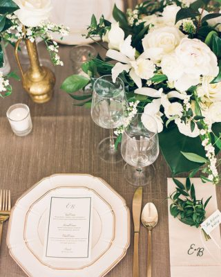 White And Gold Wedding Table 100layercake.com - anniemcelwain.com