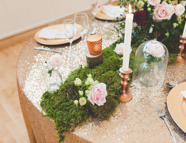 How To Style A Rustic Glamour Table With Moss And Copper Wedding Decorations wooden-crate-centrepiece-with-moss-and-copper-wedding-decorations-available-from-theweddingomd
