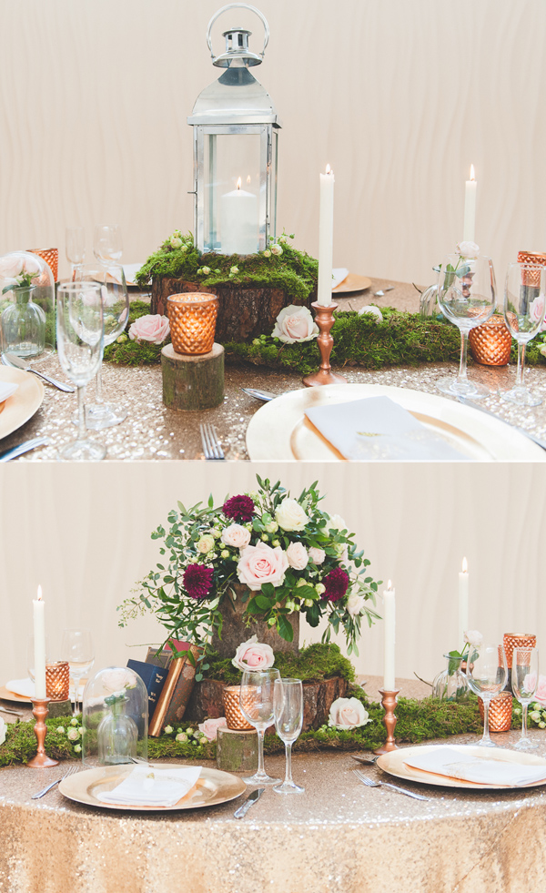 How To Style A Rustic Glamour Wedding Table With Moss And Copper