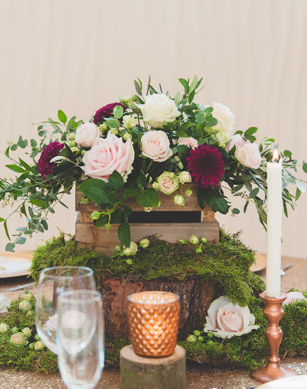 How To Style A Rustic Glamour Table With Moss And Copper Wedding Decorations  Wooden Crate