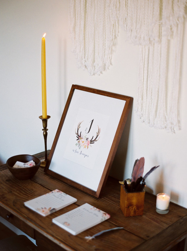 brass candlestick wedding cards table