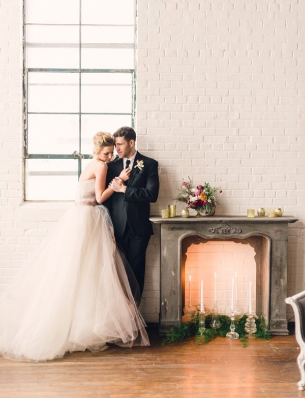 clear glass candlesticks wedding fireplace