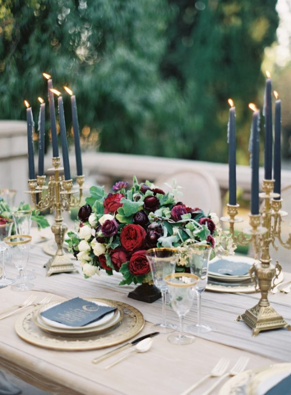 gold candlesticks wedding tables