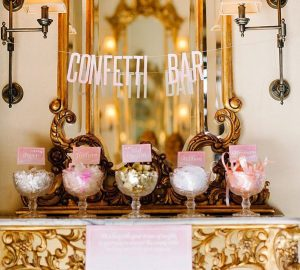 Create A Wedding Confetti Bar For Your Guests  Ruffled - photo by http://debbielourensphotography.com/ - http://ruffledblog.com/smitten-with-sparkle-wedding-inspiration