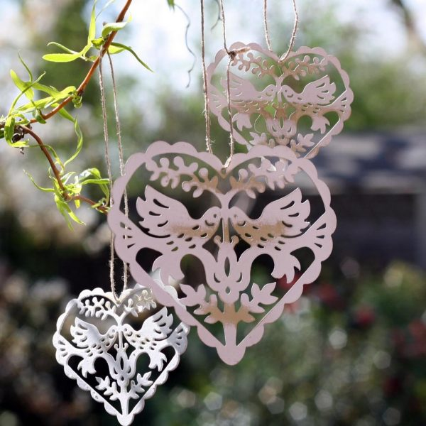 10 Ways To Include Birds And Birdcages At Your Wedding available to buy online from @theweddingomd vintage_love_bird_hanging_hearts_1_1024x1024