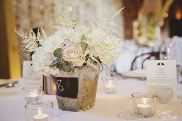 blackboard bucket centrepieces View More: http://gemmawilliamsphotography.pass.us/charlottebrad2016