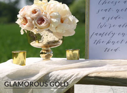 GLAMOUROUS GOLD WEDDING DECORATIONS