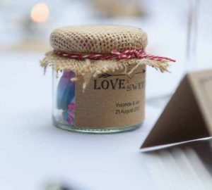 Pink Confetti Petals, Silver Candles & Love Is Sweet Favours Love is sweet wedding favours - stickers and jars @theweddingomd (1)