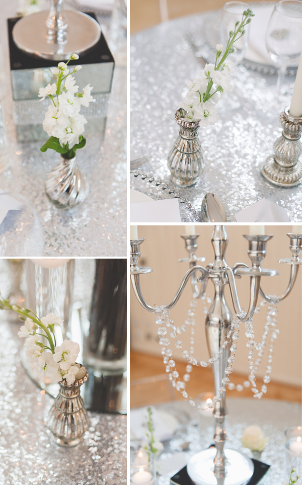 Mercury silver vases and silver glitter table cloths for wedding centrepieces by The Wedding of my Dreams @theweddingomd