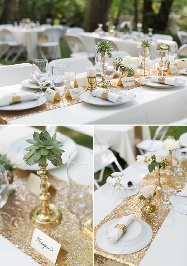 Wedding Centrepiece Gold Long Tressle Tables with runner