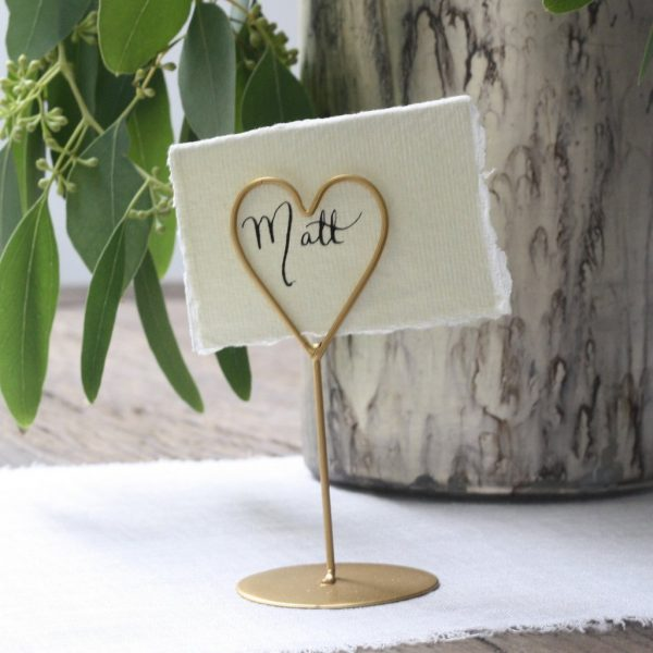 gold wedding name cards holders
